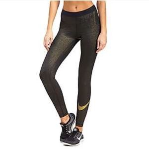 Nike pro pant sparkle gold and black NWT